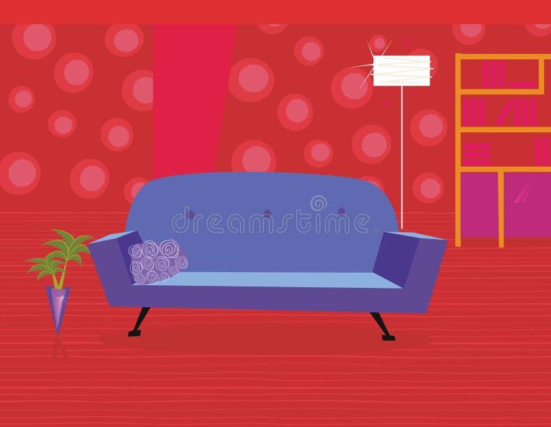 Rotes Wohnzimmer In Der Retro- Art Vektor Abbildung