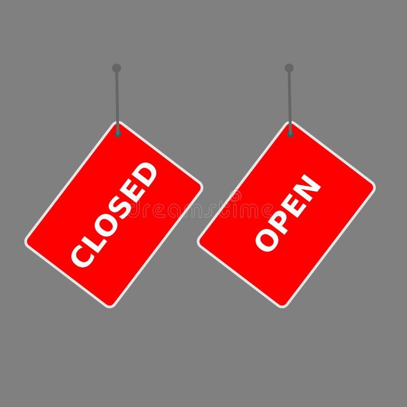 Rotes Zeichen 'offen 'und 'der Umbau des Abschlusses lizenzfreie abbildung