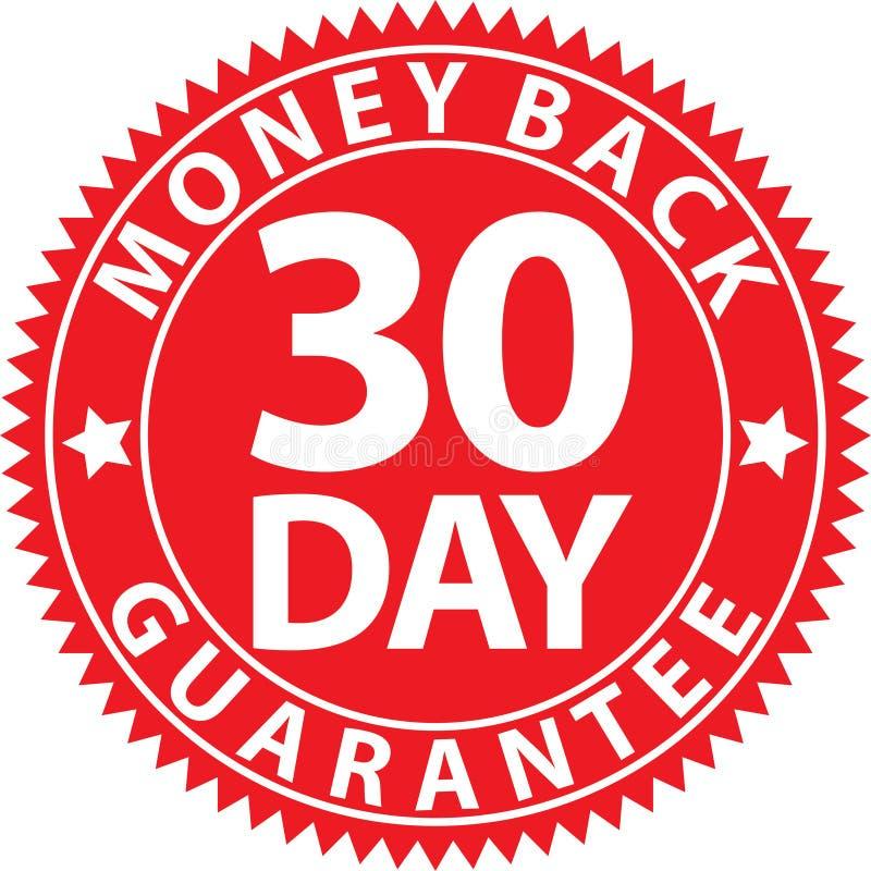 rotes Zeichen der 30-tägigen Geldrückseiten-Garantie, Vektorillustration stock abbildung