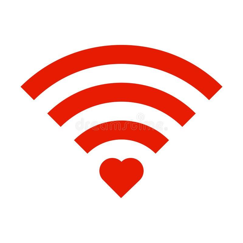 Rotes Zeichen Wifi mit dem roten Herzen lokalisiert auf weißem Hintergrund Wi-Fi vektor abbildung