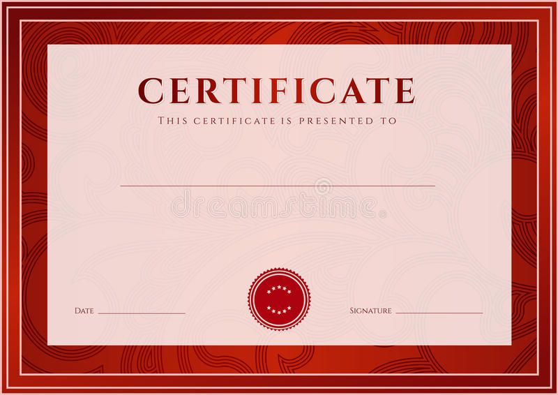Rotes Zertifikat, Diplomschablone. Preismuster Lizenzfreie Stockfotografie