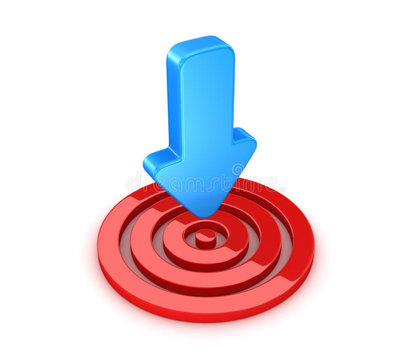 Rotes Ziel mit blauem Pfeil lizenzfreie abbildung