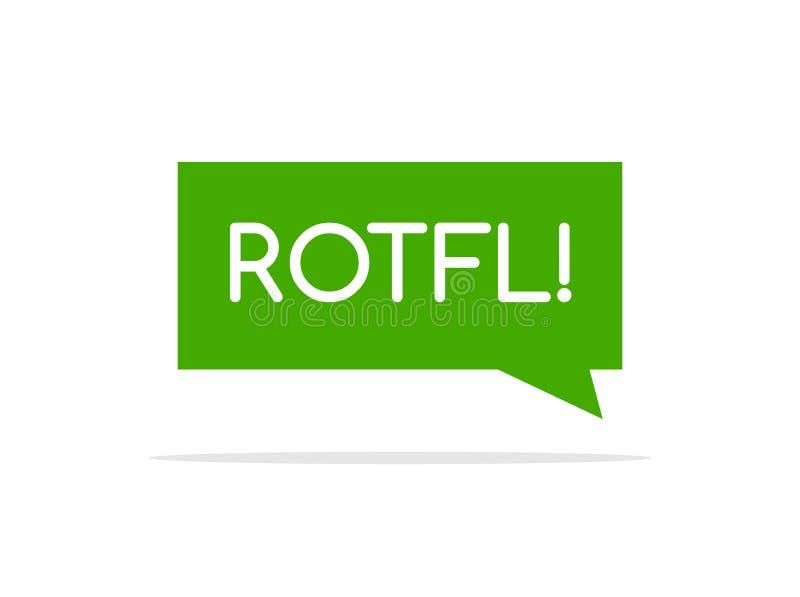 Rotfl смеясь шуточным пузырем речи, иллюстрацией мультфильма облака слова Rofl иллюстрация вектора