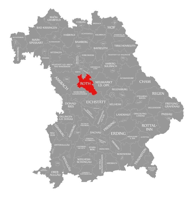 Roth okręgu administracyjnego czerwień podkreślająca w mapie Bavaria Niemcy ilustracji