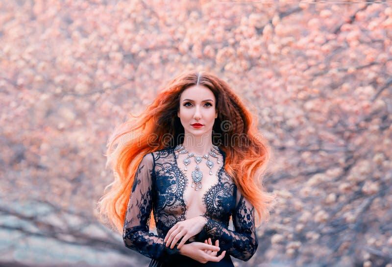 Rothaarige ausgezeichnete attraktive Hexe im transparenten Nettokleid der schwarzen Spitzes mit den offenen sexy Brüsten, Waldfrü stockbild