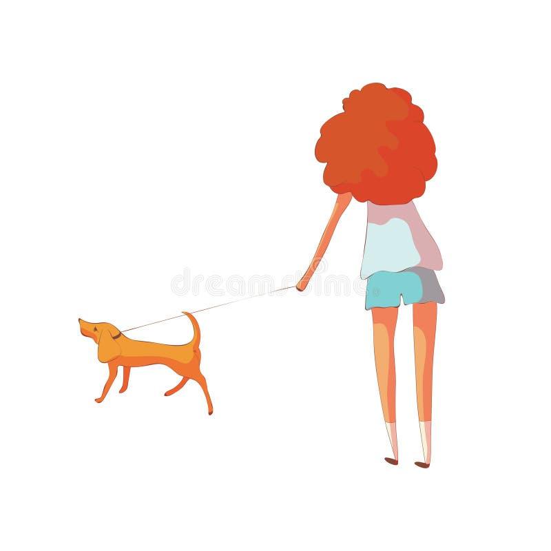 Rothaarige Frau kurz gesagt und ein T-Shirt dredit ein Hund auf einer Leine Vektorabbildung auf wei?em Hintergrund lizenzfreie abbildung