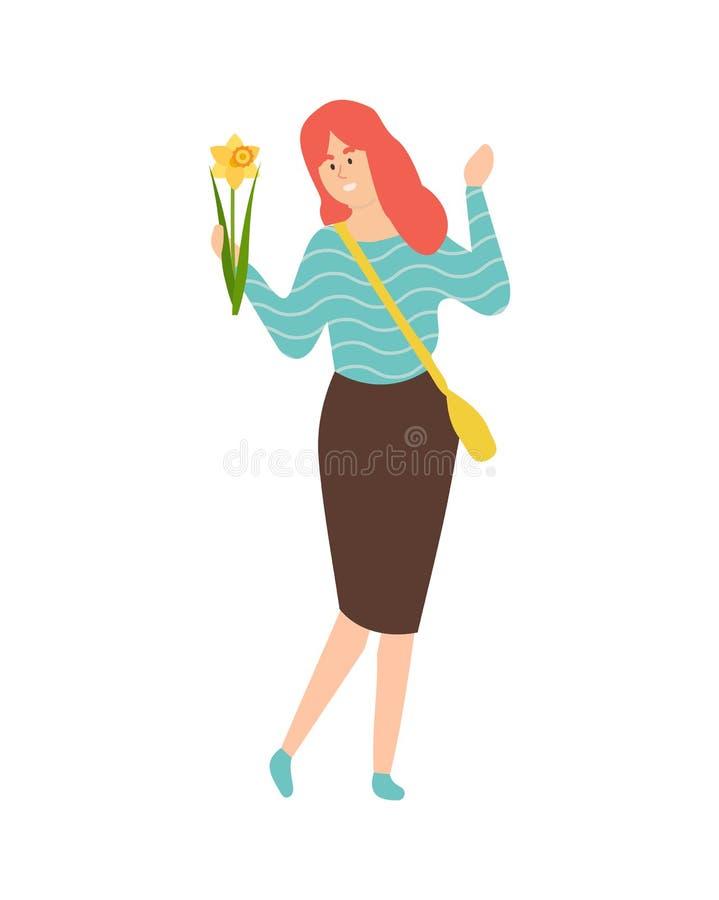 Rothaarige-Frau mit Narzissen-oder Narzissen-Blume vektor abbildung