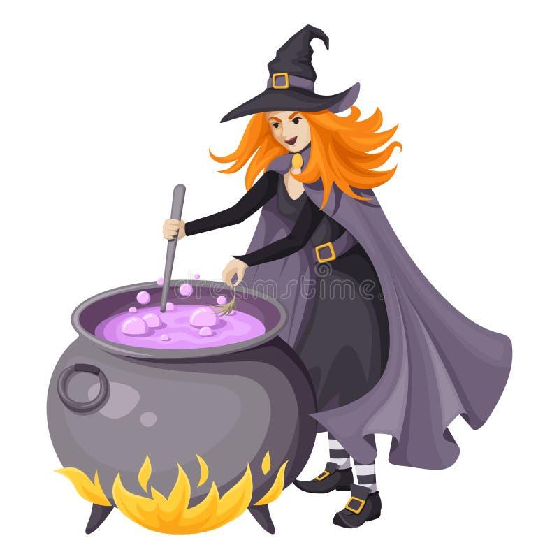 Rothaarige Hexe, Die Magischen Trank In Einem Großen Kessel Macht ...
