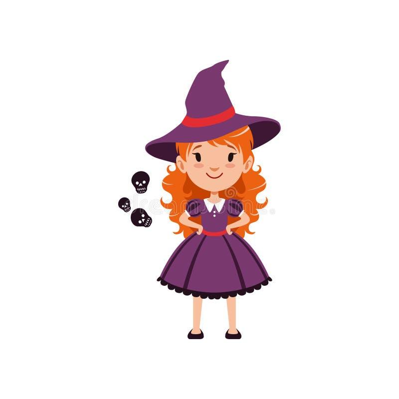 Rothaarige Mädchenhexe, die purpurrotes Kleid und Hut trägt Scherzen Sie Charakter im Kostüm, das mit schwarzen Schattenbildern v vektor abbildung