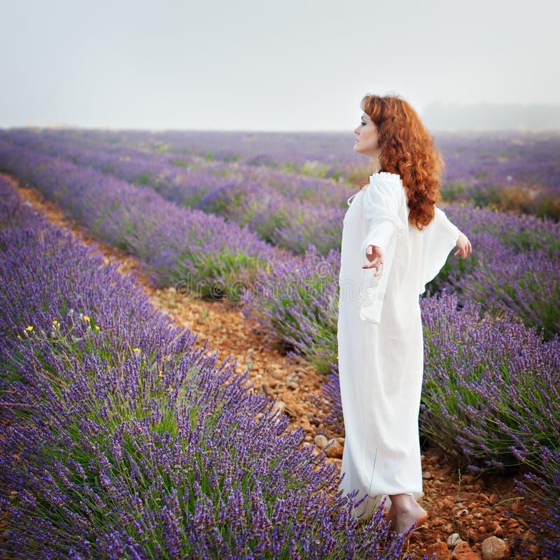 Rothaarige weiße Frau auf einem Lavendelfeld, stockfotografie