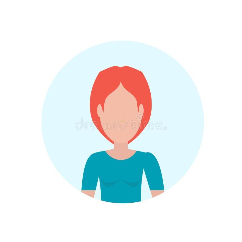 Rothaarigefrauenavatara lokalisierte gesichtslose weibliche Zeichentrickfilm-Figur-Porträtebene vektor abbildung