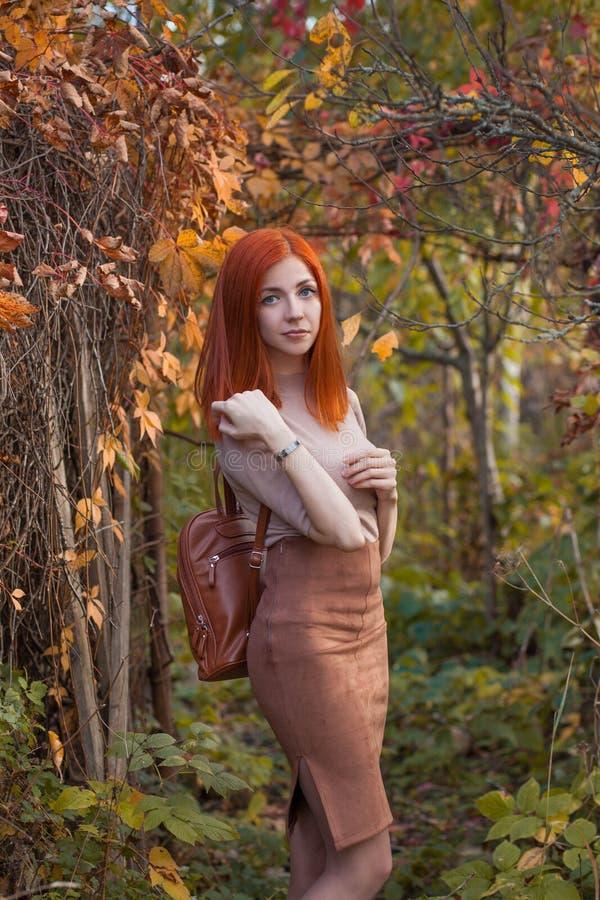 Rothaarigemädchen im Herbst lizenzfreie stockfotos