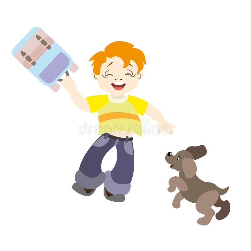 Rothaariger Junge mit einem netten Hund stock abbildung