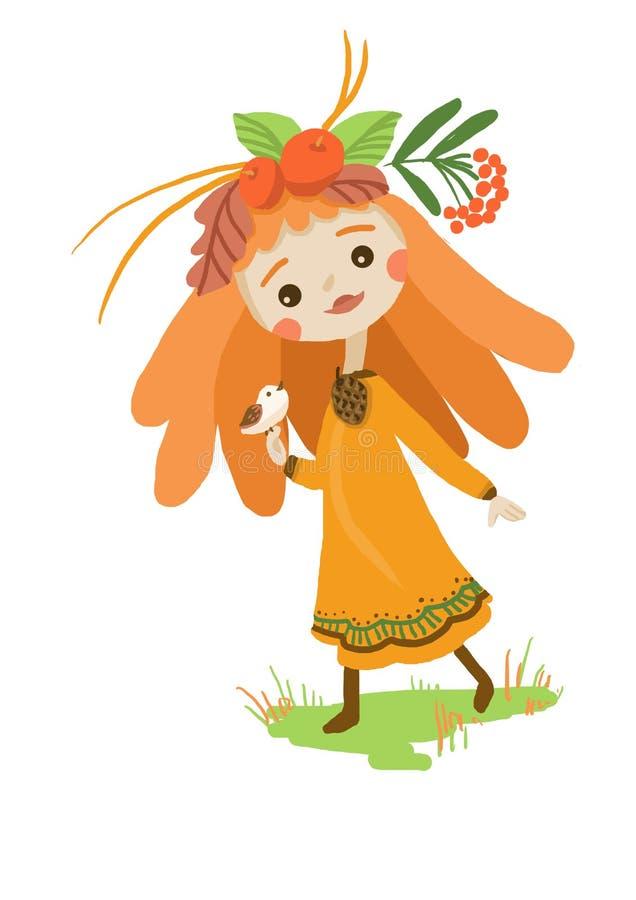 Rothaariges Herbstmädchen in einem orange Kleid mit einem Vogel auf ihrem Handgehen stock abbildung