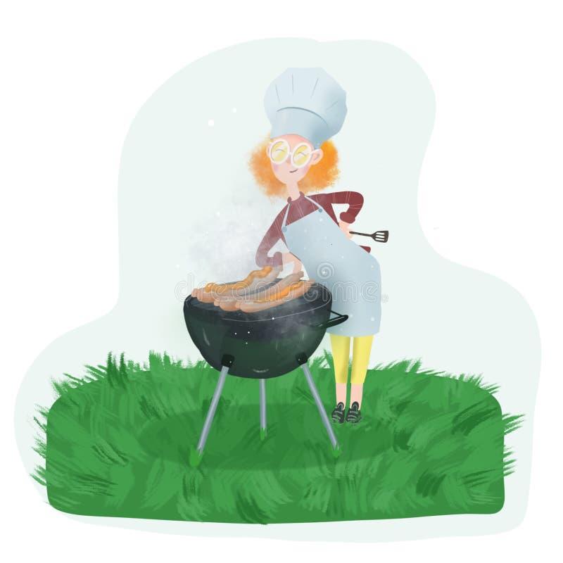 Rothaariges Mädchen in den Gläsern macht einen Grill auf dem Rasen stock abbildung