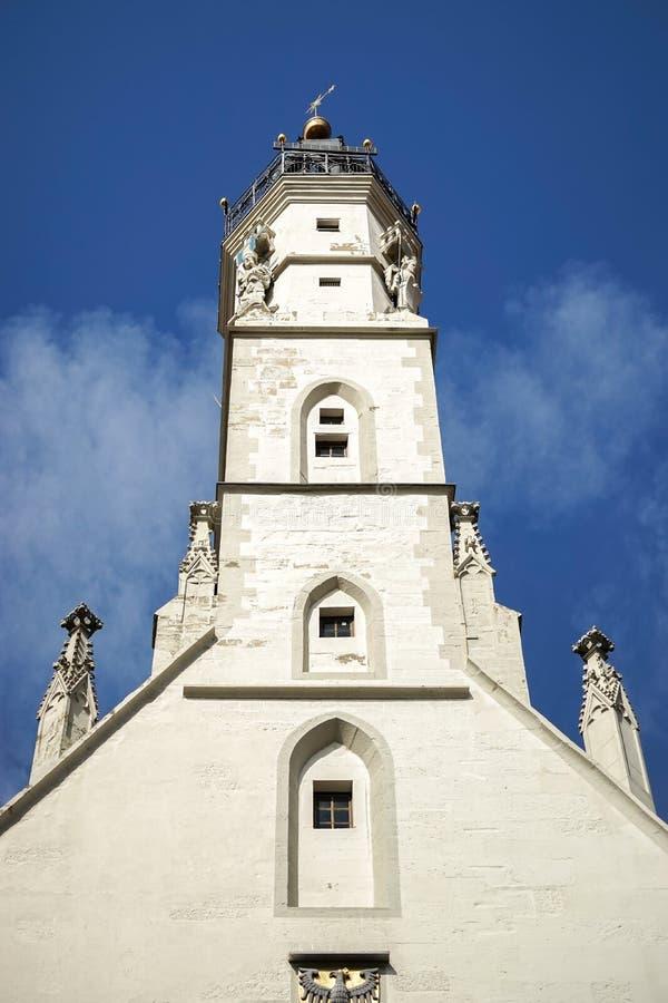 ROTHENBURG, GERMANY/EUROPE - 9月26日:在R的老钟楼 免版税库存照片