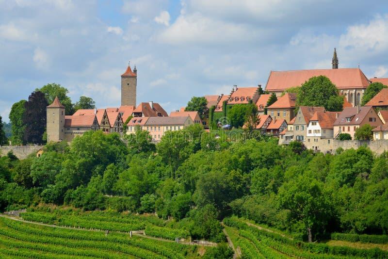 Rothenburg ob der陶伯,德国全景  免版税库存照片