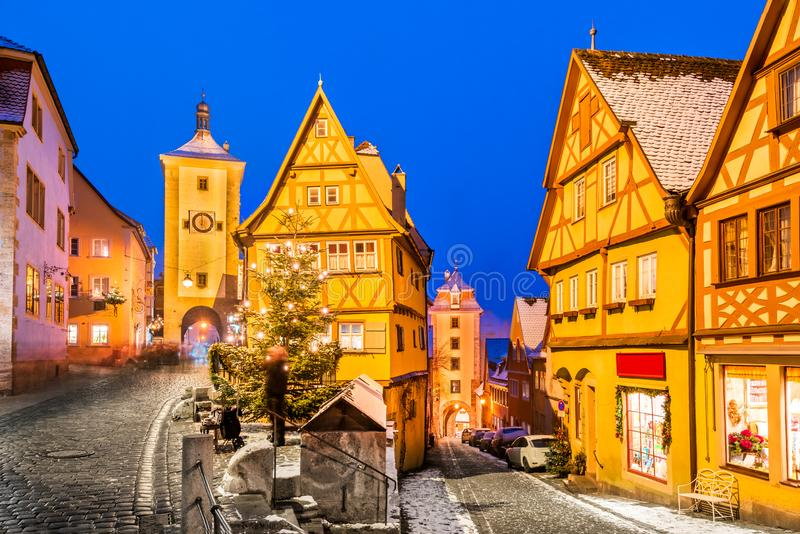 Rothenburg ob der Tauber, Bavaria, Germany. Medieval town of Rothenburg ob der Tauber at night, Romantic Road in Bavaria, Germany royalty free stock photography