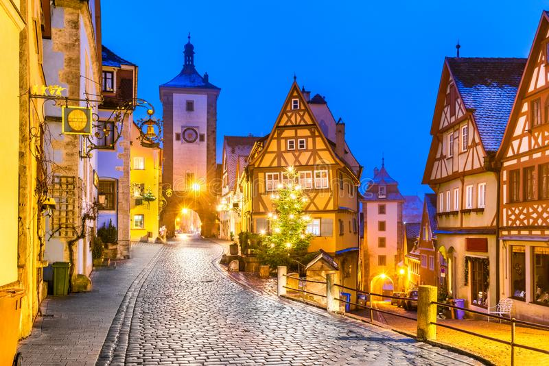 Rothenburg ob der Tauber, Bayern, Germany. Medieval town of Rothenburg ob der Tauber at night, Romantic Road in Bavaria, Germany stock photography
