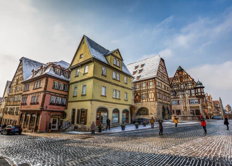 Rothenburg ob der Tauber, Deutschland - Straßen-Ansicht III stockfotos