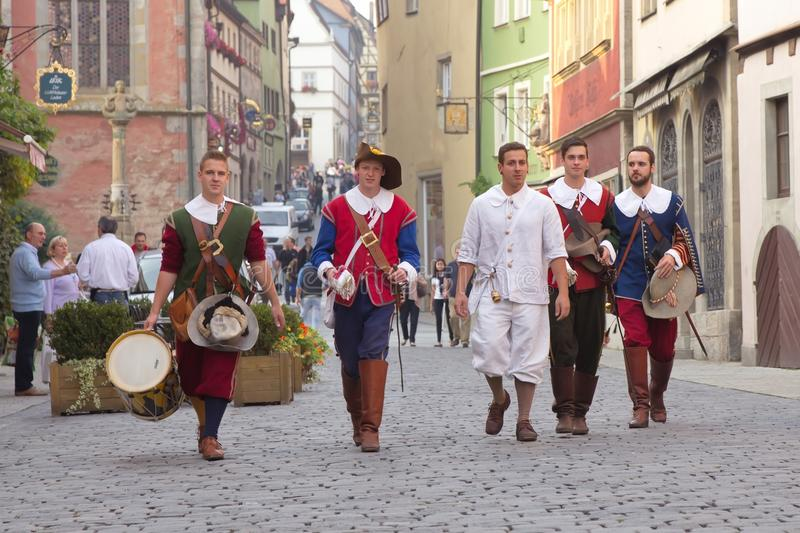 ROTHENBURG OB DER TAUBER, GERMANY - September 5: Performers of t royalty free stock photo