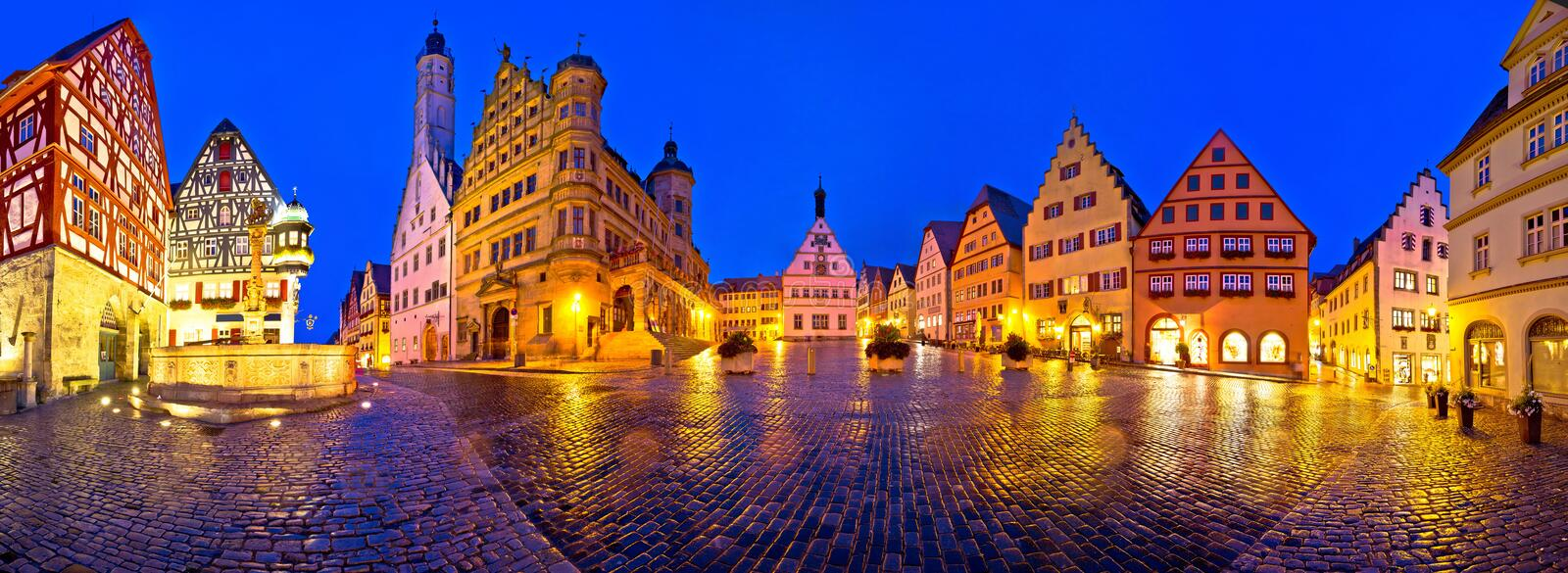 Main square Marktplatz or Market square of medieval German town of Rothenburg ob der Tauber evening panoramic view. Rothenburg ob der Tauber. Main square royalty free stock images