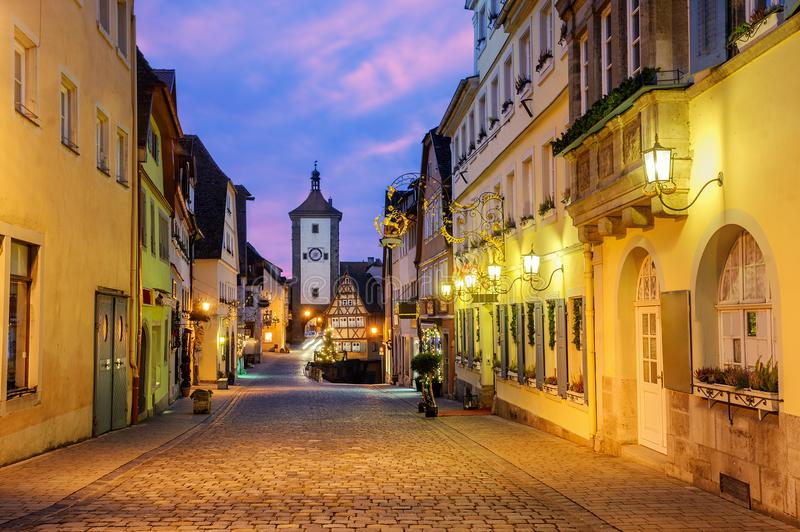 Rothenburg ob der Tauber Old Town, Germany. Medieval street of the Rothenburg ob der Tauber Old Town, Germany, on sunrise royalty free stock photos