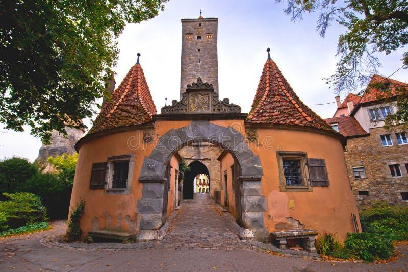 Rothenburg ob der Tauber. Western town gate Burgtor of medieval German town of Rothenburg ob der Tauber stock photos