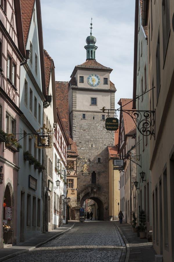 Rothenburg ob dera Tauber historyczny, średniowieczni miasteczko i, Niemcy, zdjęcia royalty free