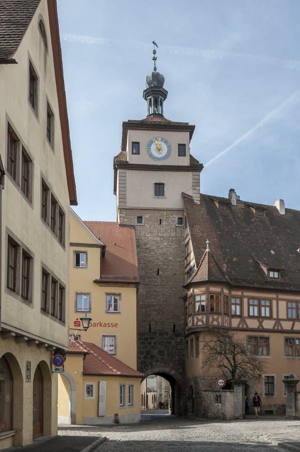 Rothenburg ob dera Tauber historyczny, średniowieczni miasteczko i, Niemcy, zdjęcie royalty free