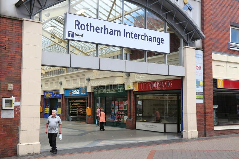 Rotherham Interchange station. ROTHERHAM, UK - JULY 10, 2016: People visit Rotherham Interchange, UK. Rotherham is a large town in South Yorkshire with royalty free stock photo