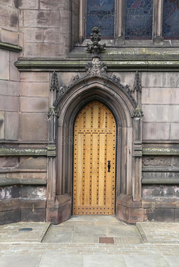 Rotherham Minster door. Rotherham, town in South Yorkshire, England. Rotherham Minster (All Saints Church), Gothic architecture royalty free stock photography