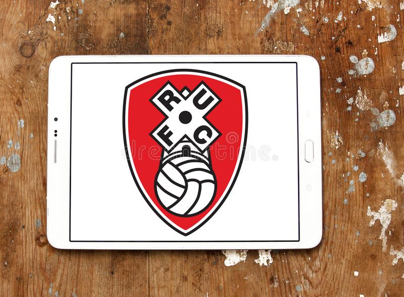 Rotherham United F.C. football club logo. Logo of english Rotherham United F.C. football club on samsung tablet stock image