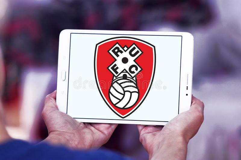 Rotherham United F.C. football club logo. Logo of english Rotherham United F.C. football club on samsung tablet royalty free stock photos