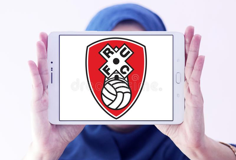 Rotherham United F.C. football club logo. Logo of english Rotherham United F.C. football club on samsung tablet holded by arab muslim woman stock photos