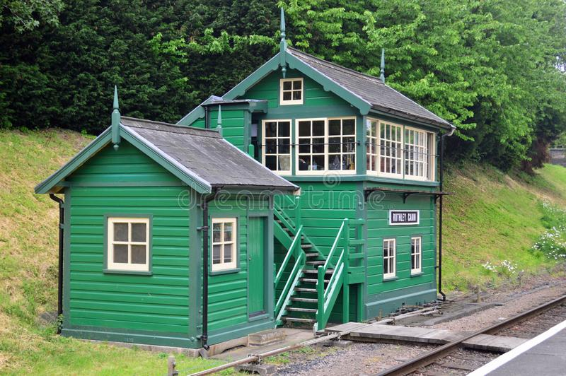Rothley Station Signal Box and Lamp Hut. Green -Rothley is a restored Edwardian station on the great central railway GCR a preserved heritage railway in royalty free stock photos