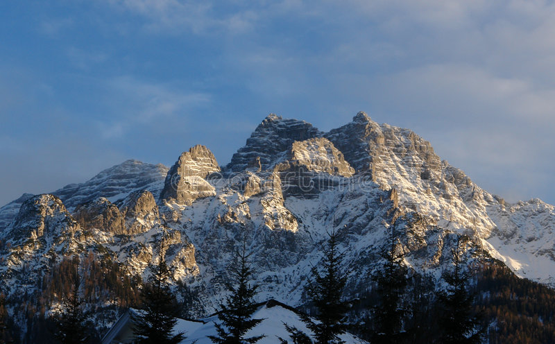 Rothorn Mountain. (Part of Loferer Steinberge - Lofer Rock Mountains ) in the evening . Waidring City in Austria,Tirol. Popular Mountain for alpinists royalty free stock photography