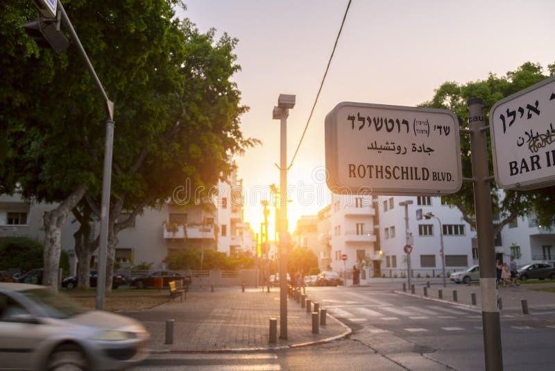 Rothschild boulevard i Tel Aviv, Israel royaltyfri foto