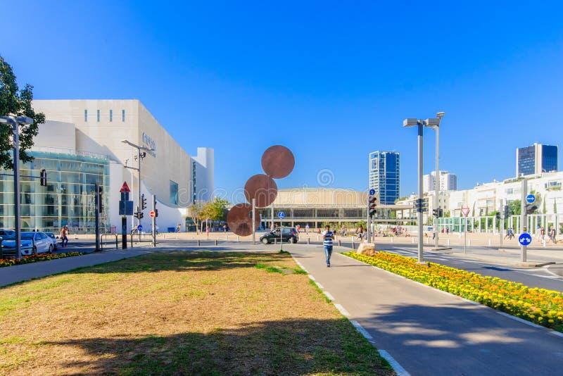 Rothschild Boulevard, Tel-Aviv. TEL AVIV, ISRAEL - MAY 15, 2015: Scene of the Rothschild Boulevard, a mobile library and the Habima Square (The Orchestra Plaza stock image