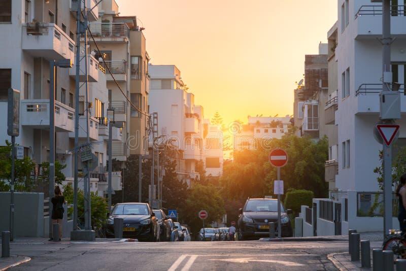 Rothschild Boulevard in Tel Aviv, Israel. Tel Aviv-Yafo, Israel - June 9, 2018: Urban view from the famous Rothschild Boulevard in Tel Aviv. The Boulevard is a stock image