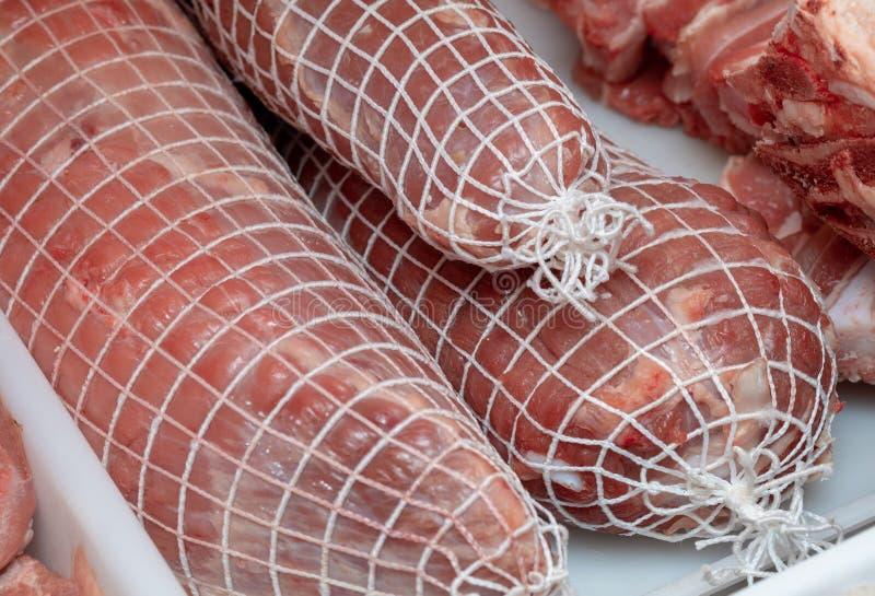 Roti猪肉充塞了 未加工和准备好烹调 免版税库存照片
