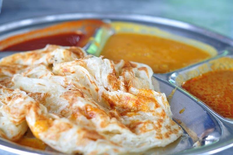 Roti canai płaski chleb, Indiański jedzenie obraz stock