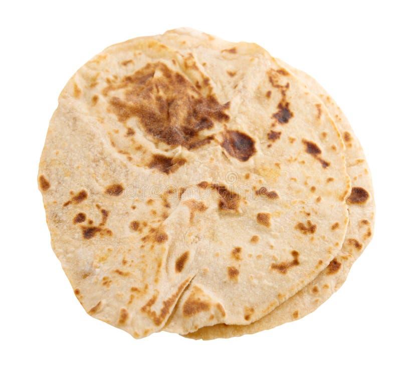 Roti de chapatti d'isolement photos stock