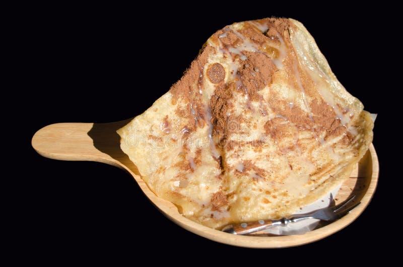 Roti friável com pó de cacau, tipo do alimento indiano feito da farinha imagem de stock
