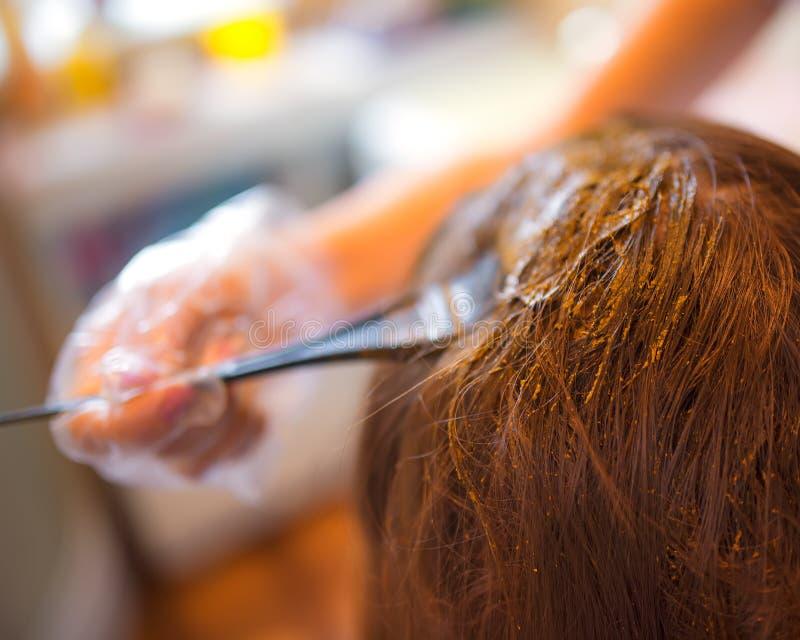 Rotina da beleza do cabelo da coloração com hena natural imagens de stock royalty free