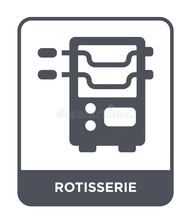 rotisserie εικονίδιο στο καθιερώνον τη μόδα ύφος σχεδίου rotisserie εικονίδιο που απομονώνεται στο άσπρο υπόβαθρο rotisserie διαν ελεύθερη απεικόνιση δικαιώματος