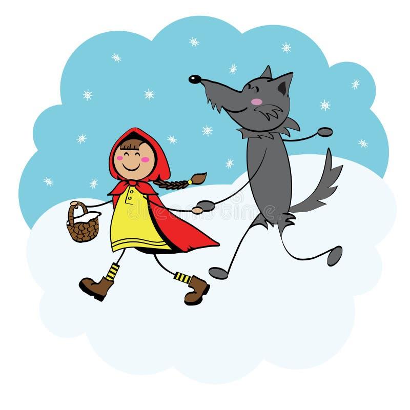 rotkäppchen und der wolf vektor abbildung illustration