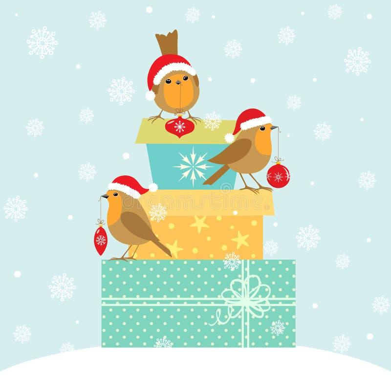 Rotkehlchen- und Weihnachtsgeschenke vektor abbildung