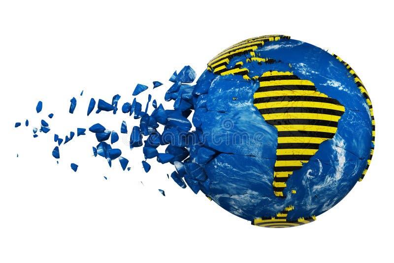 Roto estrelló el globo de la tierra del planeta aislado en el fondo blanco Cinta rayada de la seguridad de la advertencia de la p libre illustration