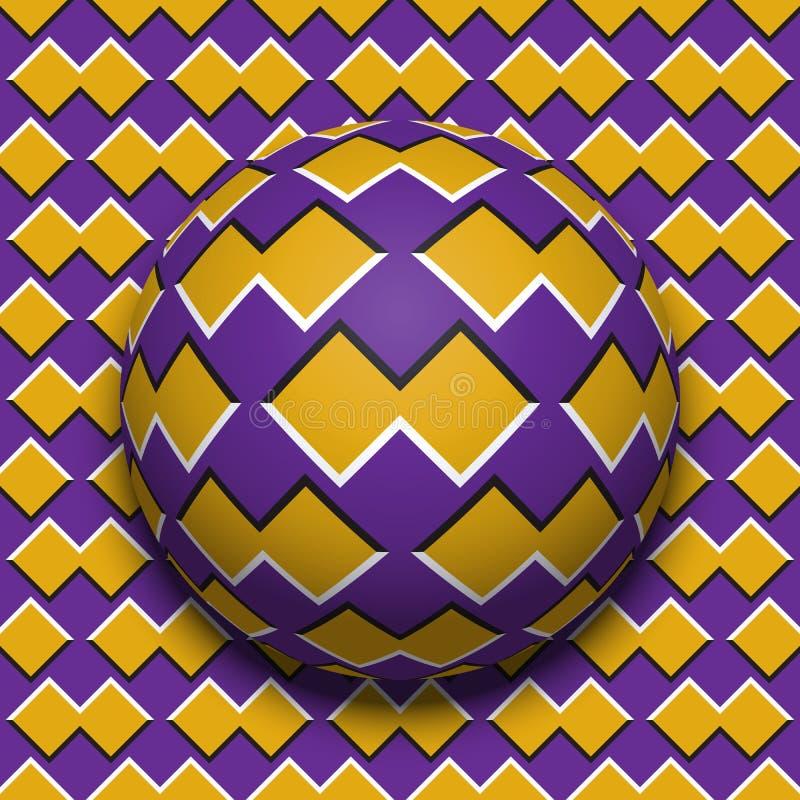 Rotolamento modellato della palla lungo lo stessi superficie Illustrazione astratta di illusione ottica di vettore Fondo di moto royalty illustrazione gratis